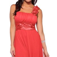Designer Gathered Empire Flowy Evening Prom Party Dress (Large, Coral Rose) Reviews - save winkie Shop