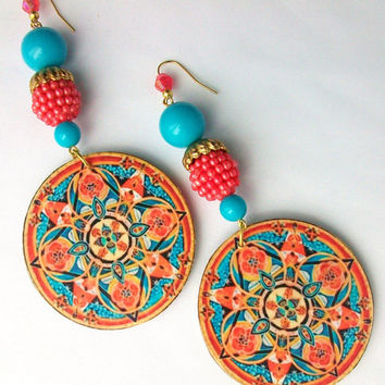 Beaded Dangle Earrings. Turquoise and Coral, Ornate Mandala Pattern.