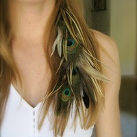 CEDAR Feather Hair Extension Clip by fallingfeathers on Etsy