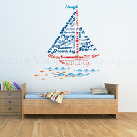 Sail boat shape wall decal, word cloud, wall graphic,subway art vinyl decal, wall sticker, vinyl decal, typography, vinyl graphic wall decal