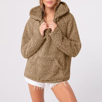 Fuzzy Women's Sherpa Jacket with Hood for Winter