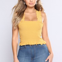 Flower Fields Smock Top - Mustard