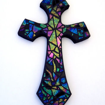 "Mosaic Wall Cross, Iridescent + Textured Glass, Handmade Stained Glass Mosaic Design, 12"" x 7"""