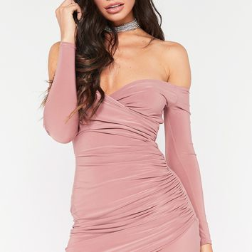 stella rose wrap front bardot mini dress