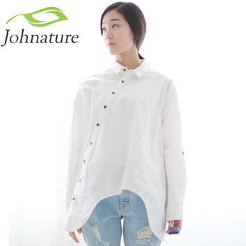 Johnature  Spring New Women Shirt Cotton Linen Button White Blue Floral Turn-down Collar Irregular Plus Size Loose Blouse