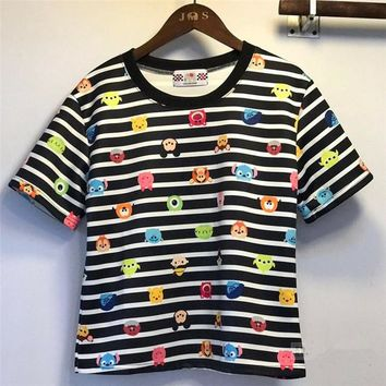 2017 Summer New Fashion Women Summer Striped Print T Shirt Casual Woman Short Crop Tops O-neck Plus Size tee 72304