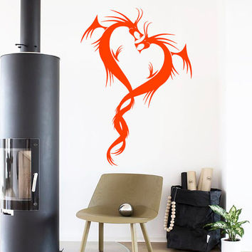 Wall Decals Two Chinese Dragons Tattoo Love Passion Symbol Home Vinyl Decal Sticker Kids Nursery Baby Room Decor kk707