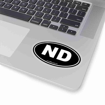 North Dakota NE Euro Oval Sticker SOLID BLACK