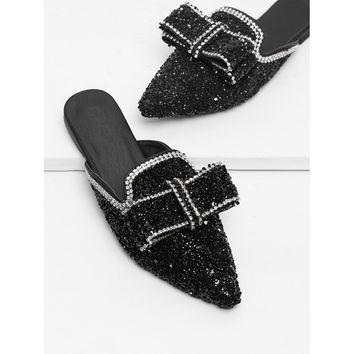 Bow Decor Sequin Mules
