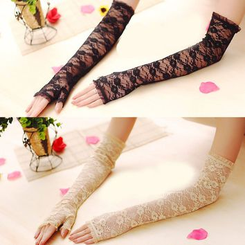 Long Lace Hollow-Out Fingerless Gloves Skid Resistance Pattern Lace Fingerless Gloves Sun Protection Accessories
