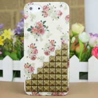 Brass Stud And Rose Hard Case Cover for Apple iPhone5 Case, iPhone 5 Cover,iPhone 5 Case, iPhone 5g