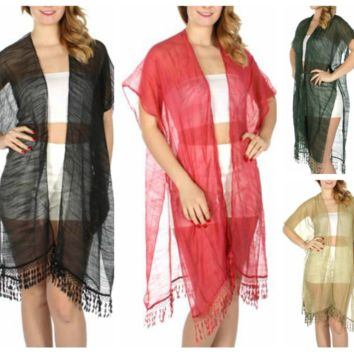 Spring Light Textured Ruana with Lace Fringe in One Size fits Most in 6 Colors