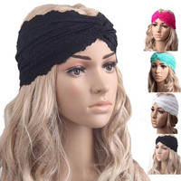 Fashion Women Headwear Twist Sport Yoga Lace Headband Turban Headscarf Wrap Modern (Color:Rose,Green,White,Black) [8069656199]