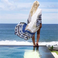 Fashion Totem Print Long Section Beach Sunscreen Clothes Chiffon Cardigan Kimono Coat