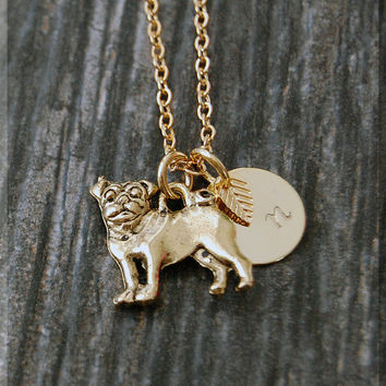 Gold Pug Dog Charm Necklace, Initial Charm Necklace, Personalized Necklace, Dog Lover Charm, Pug Pendant, Pug Dog Jewelry