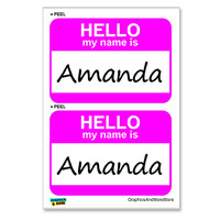 Amanda Hello My Name Is - Sheet of 2 Stickers