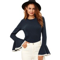 Winter Tops for Women Navy Contrast Binding Flare Sleeve T-shirt