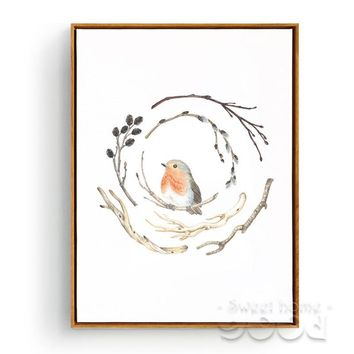 Vintage watercolor branches and bird Canvas Art Print Painting Poster, Wall Pictures For Home Decoration, Wall Decor S004