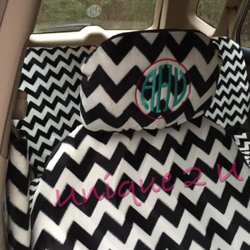 Personalized Black and White Chevron Car Seat Covers