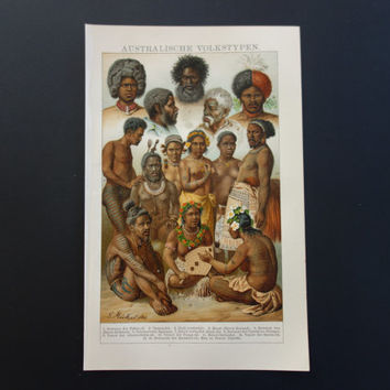 """Old anthropology print with vintage pictures of indigenous Australian Samoan Maori Tasmanian native people ethnography 16x25c 6x10"""""""