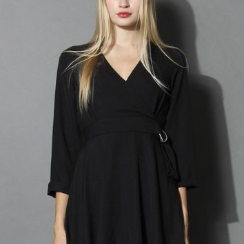 Simply My Fav Black Wrap Dress