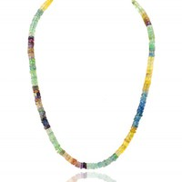 Genuine Multicolor Flourite Round Beads Necklace
