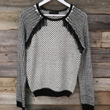 WOVEN KNIT SWEATER - BLK+WHITE