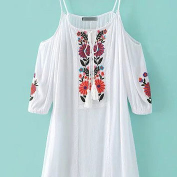 White Embroidery Cold Shoulder Tassel Dress