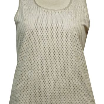 Calvin Klein Women's Perforated Faux Suede and Slub Shell Top(L, Beige)
