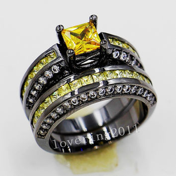 Victoria Wieck Lovers Engagement 6mm Yellow Topaz Simulated Diamond 10KT Black Gold Filled 2 Wedding band Ring Sets Sz 5-11 Gift