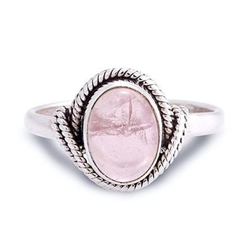 925 Sterling Silver Rose Quartz Gemstone Oval Rope Edge Vintage Band Ring Size 6, 7, 8