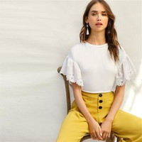 White Scalloped Embroidered Eyelet Cuff Tee Boho T Shirt Women Drop Flared Sleeve Office Lady Solid T-shirts Top