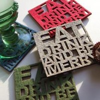 Eat Drink and Be Merry  Set of four felt coasters by peppersprouts