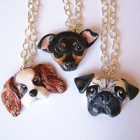Custom Dog Necklace Pet portrait by FlowerLandShop on Etsy