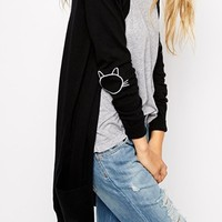 ASOS Longline Cardigan With Cat Elbow Patch