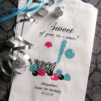 Personalized Candy Bags - Treat Favor Bags - Party Supplies - Birthday Party Favors - Quinceanera - Sweet 16 Party (Set of 10) BUFFET-06