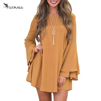 Winter Mini Dress Women Long Flare Sleeve Dresses Brief Loose Casual A line Dress Women Loose Solid Dress Robe Backless