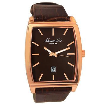 Kenneth Cole KCW1028 Men's New York Brown Dial Brown Leather Strap Quartz Watch