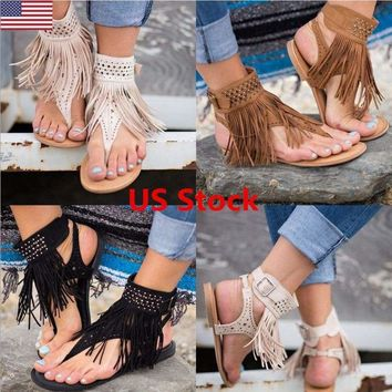 US Fashion Women Tassel Peep Toe Diamond Flip Flops Flat Sandals Casual Shoes