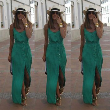 Sexy Women Summer Chiffon Dresses Long Maxi BOHO Evening Party  Solid Dress Beach Dresses Sundress