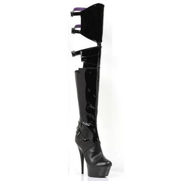 "6"" Pointed Stiletto Heel Thigh High Stretch Boots."