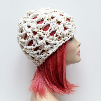 FREE SHIPPING - Crochet Chunky Beanie Hat - White, Gold