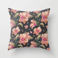 Hibiscus Throw Pillow by 83oranges.com