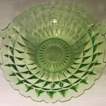 Jeanette Windsor Bowl Diamond Green Depression Glass W Handles