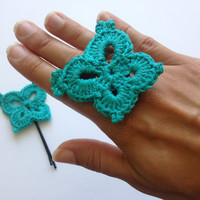 Crochet Butterfly Set, Fiber Jewelry, Boho Chic Textile Ring and Bobby Pin, Chunky Knit Nature Ring, Turquoise Accessories, Teal Hair Decor