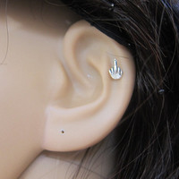 Tiny Middle Finger Cartilage Earring, Tragus earring, Helix earring