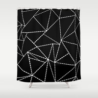 Abstract Dotted Lines White on Black Shower Curtain by Project M