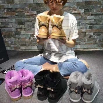 UGG Hot style wool queen diamond bow ultra female beauty with thick warm ugg boots two style (4-color)