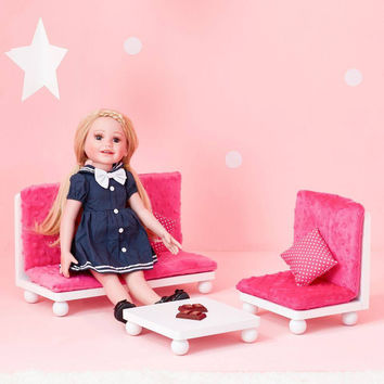 "Olivia's Little World - Polka Dots Princess 18"" Doll Pink Lounge Set"