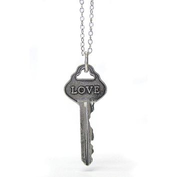 Vintage Key Pendant Necklace - Love